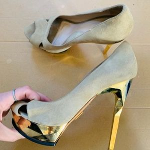 Herve Leger lamb skin gold high heels size 37.5